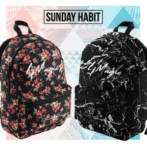 Black & White Marble/Flowers backpack