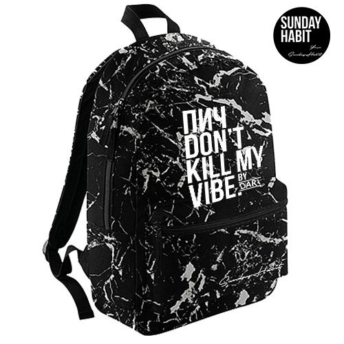 Don't kill my vibe  Marble/Flowers backpack
